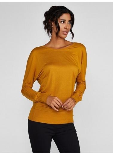 Vekem-Limited Edition Sırtı Büzgülü Kayık Yaka Bluz Sarı